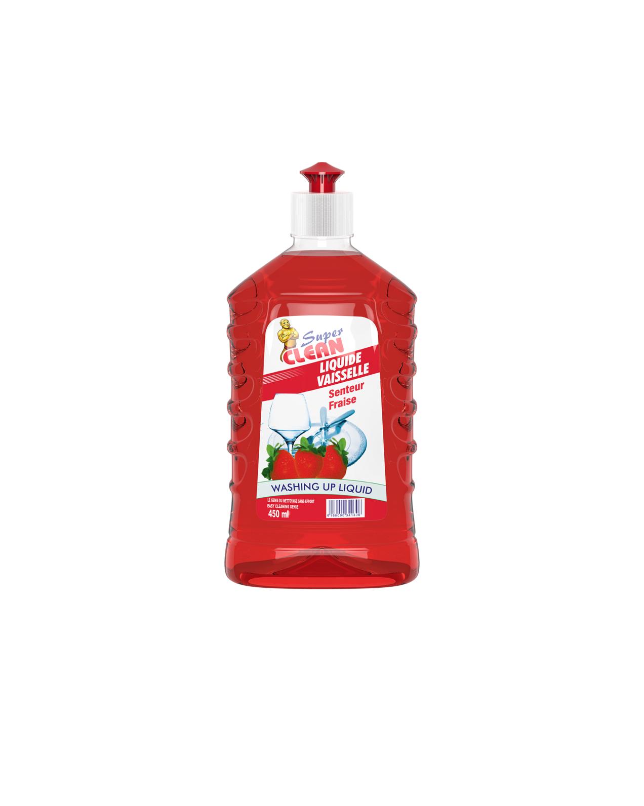 SUPER CLEAN_Liquide Vaisselle Fraise 450ml_Siprochim