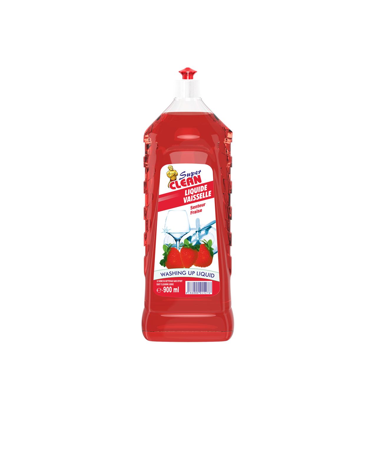 SUPER CLEAN_Liquide Vaisselle Fraise 900ml_Siprochim