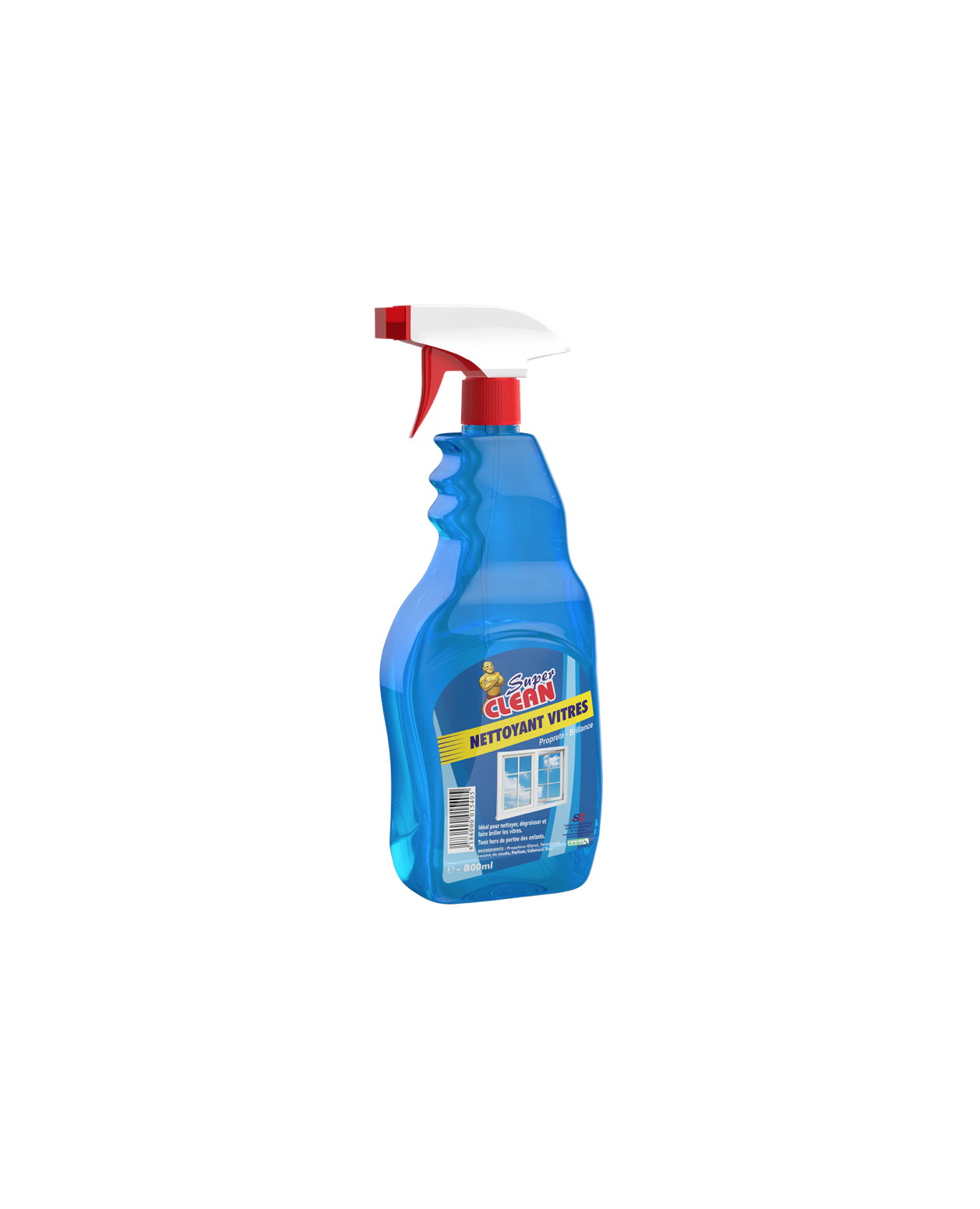 SUPER CLEAN_Nettoyant Vitres 800ml-siprochim_Flacon Only